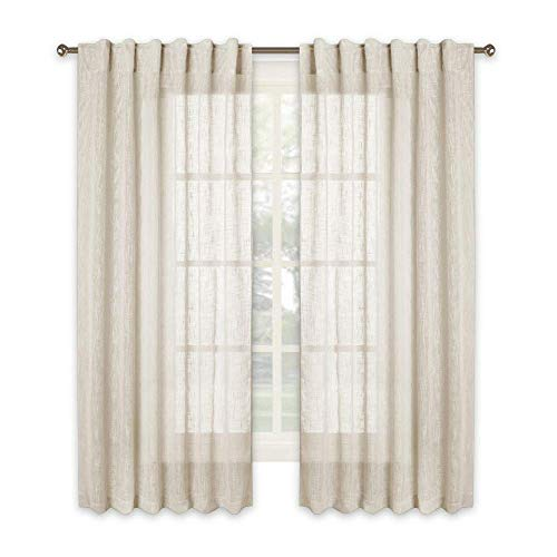 RYB HOME Privacy Linen Textured Sheer Window Curtains for Bedroom, Rod Pocket & Back Tab Top Voile Drapes, Sunlight Filtering Nature Air Through, Warm Beige, 52 x 63 inch Each, 2 Panels ()