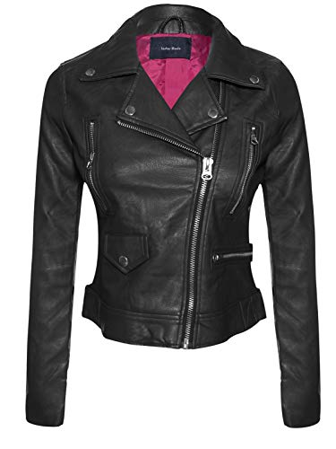 Instar Mode Women's Long Sleeve Zipper Closure Moto Biker Faux Leather Jacket Black XL