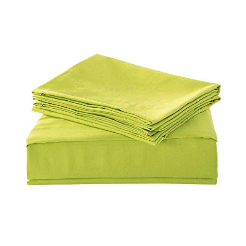 - HollyHOME 1500 Soft Hypoallergenic Brushed Microfiber Bed Sheet Set, 3 Pieces Twin Size Sheets, Lime Green