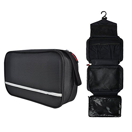 Casmas Travel Toiletry Bag Travel Accessories Bag Cosmetic Organizers with Hanging Hook Use in Bathroom or Hotel (Black) by Casmas (Image #1)