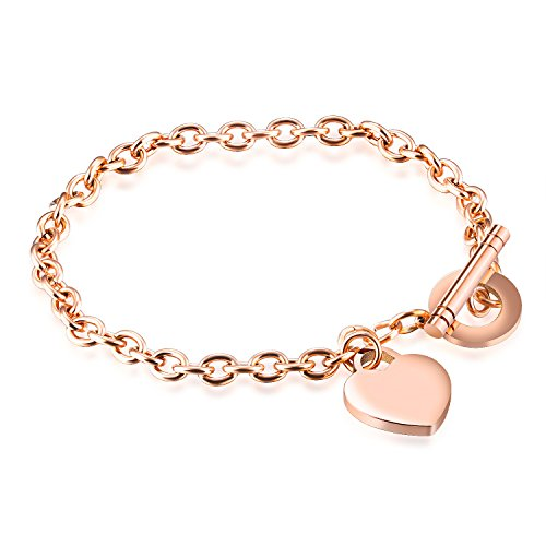 AIZU Rose Gold Color Stainless Steel Bracelet with Heart Charm and Toggle Clasp Closure,Gift Box Included