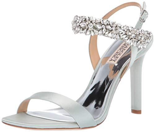 Badgley Mischka Women's Lilly Heeled Sandal, Mint Satin, 6 M US