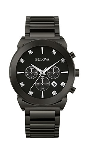 Bulova Mens 98D123 Diamond Markers Chronograph Black Stainless Steel 41mm Watch (Renewed) ()
