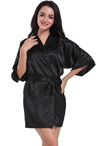 Admireme Women's Kimono Robes Satin Nightdress Pure Colour Short Style with Oblique V-Neck Black