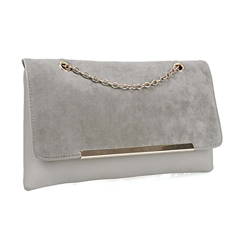 BMC Fashionably Chic Caramel Frappe Faux Suede Leather Gold Metal (Suede Clutch Purse)