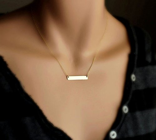 HUAMING Fashion Womens Bohemian Necklace One-line Pendant Necklace Clavicle Chain Charms Gold Chain Necklace for Ladies (Gold) by HUAMING (Image #3)