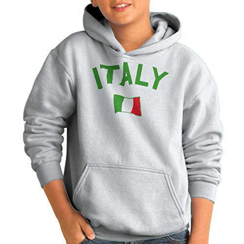 Brisco Brands Italy Country Flag Soccer Fan Italian Pride Youth Hoodie White