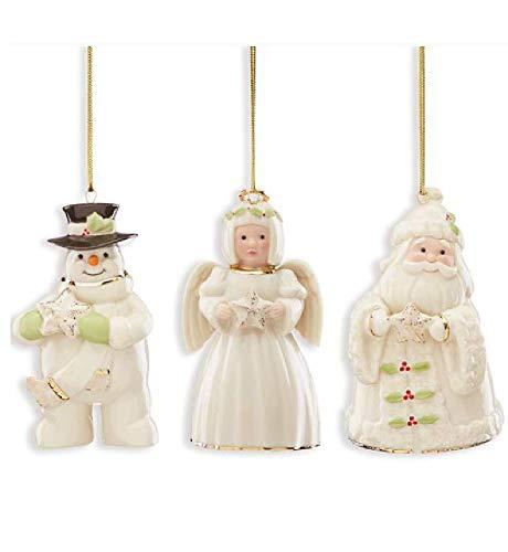 Lenox Holiday Cheer 3-Piece Set Ornaments Snowman, Santa and ()