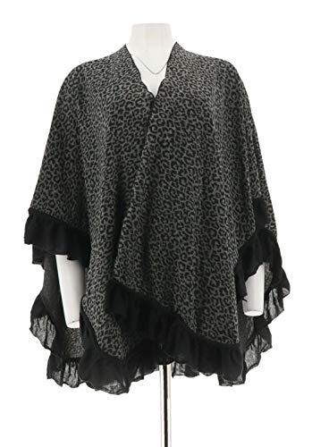 Sure Couture Animal Fashionable Print Ruana Ruffle Trim Grey Black New A227809