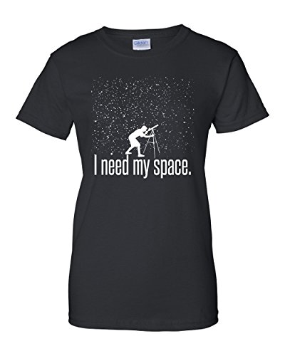 Price comparison product image I Need My Space Womens Adult Funny Astronomy Telescope Planets Galaxy Universe Stars Sky Humor Physics Science Graphic Tee Pun T-Shirt Black (X-Large)