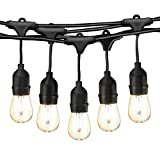 49Ft LED Outdoor String Lights Commercial Globe Lights with 15 Edison Vintage Dimmable Bulbs Weatherproof Connectable Hanging Strand for Bistro Porch Patio Garden Deck Cafe UL Listed – Black