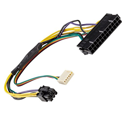 AYA 12'' (12 Inch) ATX Main 24-Pin to 6-Pin PCI-E PSU Power Adapter Cable 18AWG for HP Z220/Z230, Elite 8000, 8100, 8200, 8300, HP 800 G1, HP Compaq 6200 Pro MT by AYAGROUP
