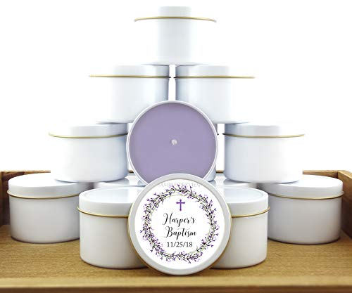 12 Baby Girl Lavender Baptism Favors   4oz Personalized soycandles   Christening Table Decor, Centerpiece   Floral Wreath, Cross   Custom Stickers Labels