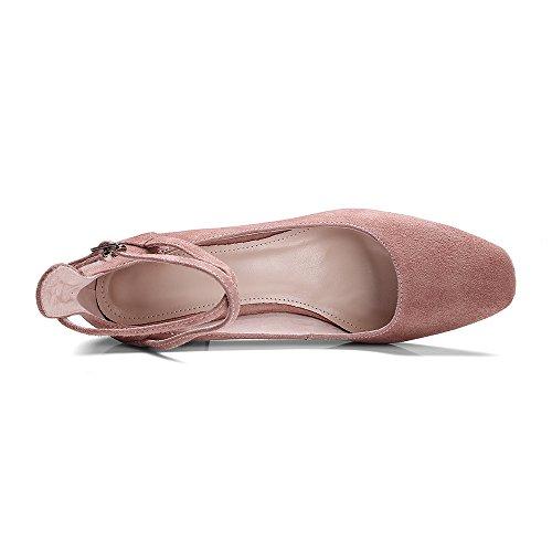 Nine Seven Moda Cuero Puntera Cuadrada Zapatos de Tacón Grueso con Correa de Tobillo para Mujer Rosa