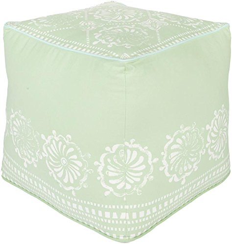 Surya KSPF-025 Kate Spain 100-Percent Cotton Pouf, 18-Inch by 18-Inch by 18-Inch, Light Gray/Ivory/Gray by Surya