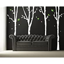 Pop Decors PT-0136-1 Four Super Birch Trees Vinyl Art Wall Decals for Nursery Room