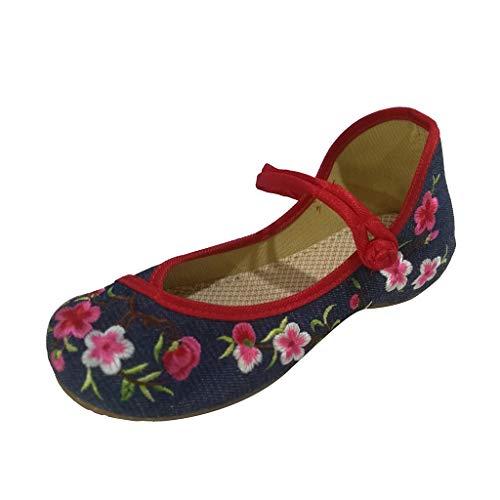 Alden Dress Belt - Toimothcn Embroidered Canvas Shoes Women Vintage Ankle Double Strap Ethnic Shoes (Blue5,US:6)