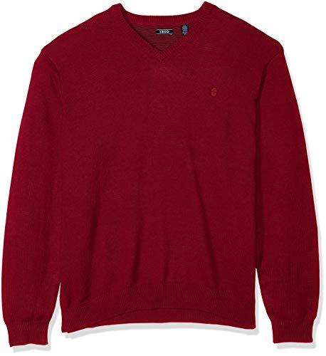 IZOD Men's Big and Tall Premium Essentials Fine Gauge Solid V-Neck Sweater, Biking Red, 3X-Large -
