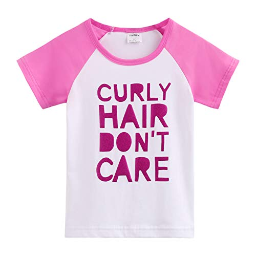 Herbow Toddler Baby Girls Boys Raglan Tees for Short Sleeve Cotton T-Shirt Baseball Jesey Culy Hair Don't Care White-Peach