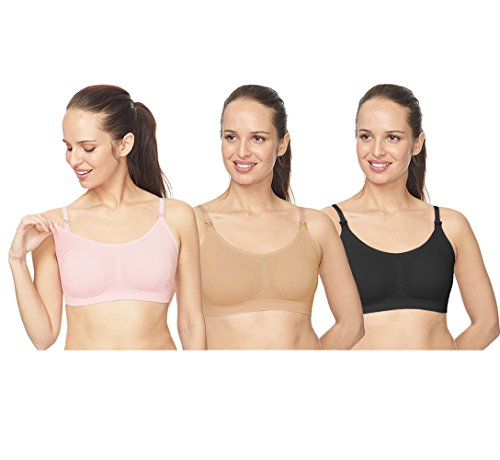 3 Pack Of Convertible Strap Nursing Bra Cami For Breastfeeding (Large, C) (Double Opening Nursing Cami)