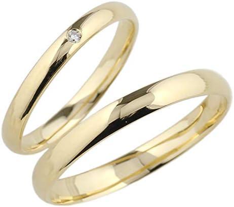 [リュイール] ダイヤ イエローゴールド レディース K18 ペアリング 地金 結婚指輪 マリッジ 2本セット 甲丸