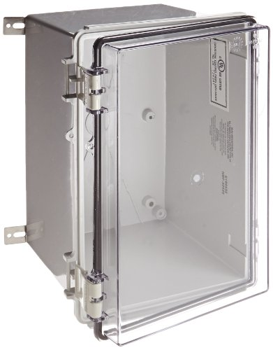 BUD Industries NBF-32420 Plastic Outdoor NEMA Economy Box with Clear Door, 11-51/64'' Length x 7-55/64'' Width x 7-55/64'' Height, Light Gray Finish by BUD Industries
