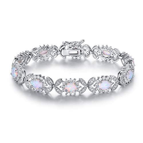 Barzel 18K White Gold & Rose Gold Plated Created Opal Tennis Bracelet (White Gold Clear)