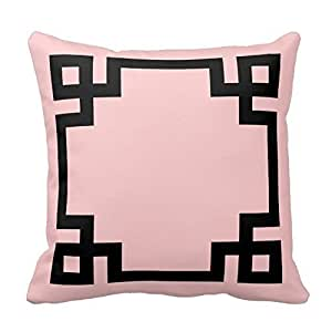 18 Inch Light Pink and Black Greek Key Border Throw Pillow Cover Square Decorative Cotton Cushion Cover Throw Pillowcase