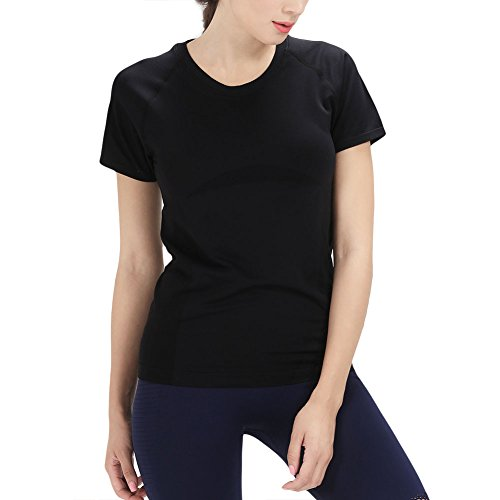 PLAYBOLD Seamless Yoga Tops Workout Tshirt Active Quick Dry Running Tshirt Loose Fit Round Neck Tee