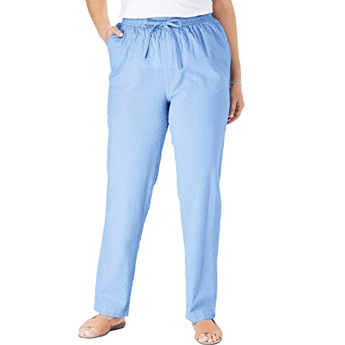 Woman Within Women's Plus Size Seersucker Pant - French Blue, 16 -