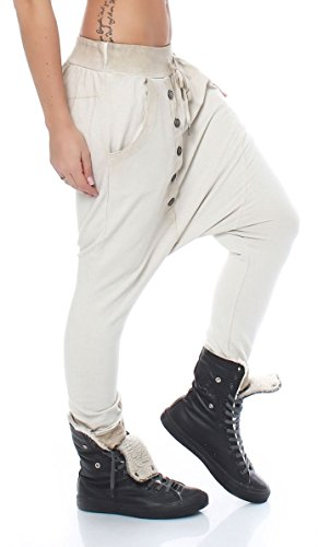 Boutons Femme Pantalon Malito 91097 Aladin Harem Boyfriend Torsion Avec Taille Enrouler Beige Baggy Yoga Unique 4SqxpSE1cw