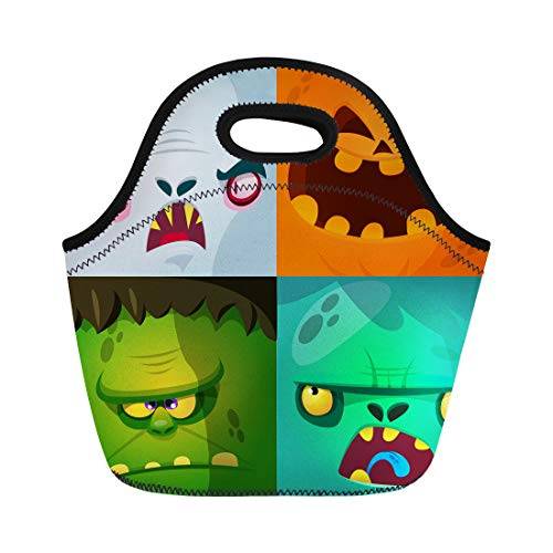 Semtomn Lunch Bags Blue Halloween Cartoon Monster Faces Cute Avatars and Pumpkin Neoprene Lunch Bag Lunchbox Tote Bag Portable Picnic Bag Cooler Bag -