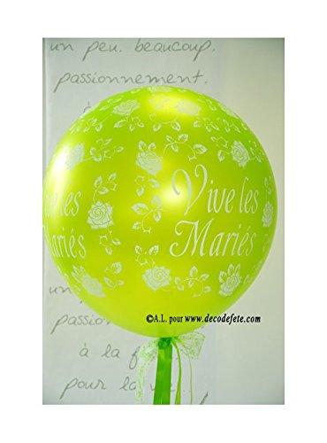 Belbal 1 balón gigante 90 cm Vive Les Mariés verde manzana: Amazon ...