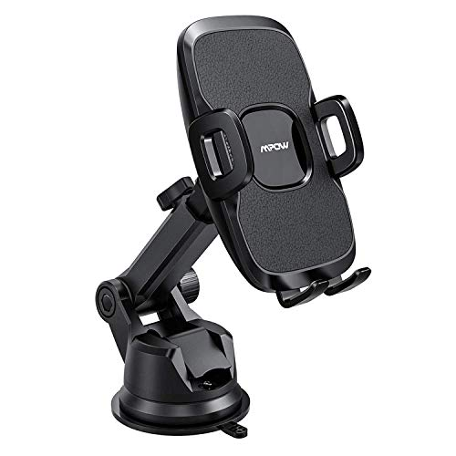 Mpow 104 Dashboard Car Phone Mount, Windshield Car Phone Holder, 2 Suction Levels, Washable Gel Pad Compatible iPhone XR,XS Max,X,8,7, Galaxy S10,S9,S8,S7,S6, Google, One Plus, Moto, and More, Black