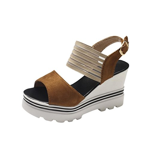 VEMOW High Heels for Women, for Work Utility Footwear Gladiator Closed Toe Platform Sparkly Roman Sandals Party Club Office Court Shoes, Fish Mouth Platform Wedge Buckle Slope Brown