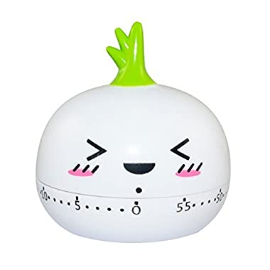 BINGONE Assorted Colors Kitchen Timer Cute Mini Onion 55 Mins Countdown with Ring Alert, White