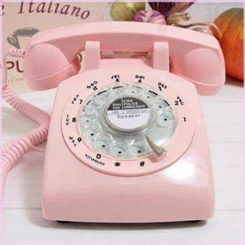Glodeals 1960's Style Pink Retro Old Fashioned Rotary Dial Telephone -