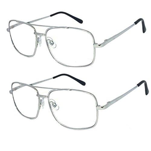 V.W.E. 2 Pairs Metal Frame Aviator No Line Progressive Clear Lens Spring Hinge Reading Glasses (Silver, 3.00)