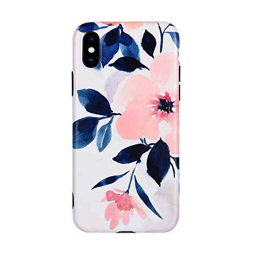 Flower iPhone X case, iPhone Xs Case, Peach Blossom TPU Floral Case Cover for iPhone Xs/X Art Ink Painting Pink Rubber Back Case for Girls Women