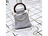 Shoulder Bag Transparent Shopping Bag Clear Tote with Round Handle Perfect for Girls Work or Daily Use (Pink) Shopping Bag (Color : Light Grey, Size : 21x7x21cm)