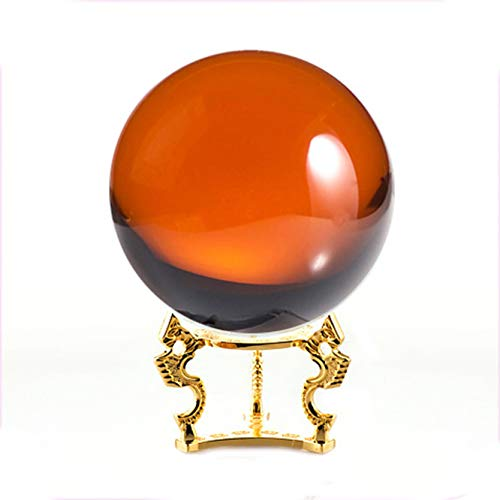 - Amlong Crystal Amber Crystal Ball 110mm (4.2 in.) Including Golden Dragon Stand and Gift Package