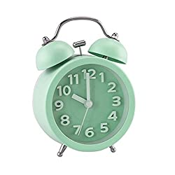 PiLife 3 Mini Non-ticking Vintage Classic Bedside /Table Analog Alarm Clock with Backlight , Battery Operated Travel Clock, Round Twin Bell Loud Alarm Clock( 3D Mint Green)