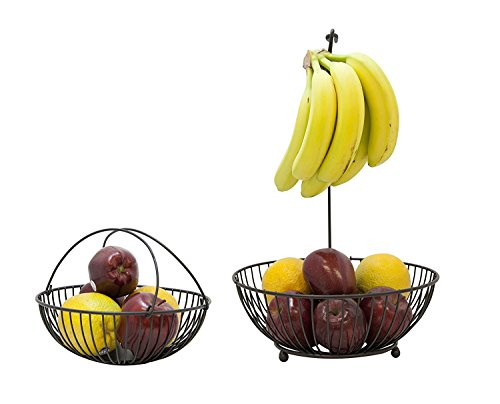 JMiles UH-FB243 Two Tier Wire Fruit Basket with Hook for Bananas - Standing Double Wire Kitchen Baskets for Fresh Produce Doubles as Single Fruit Basket with Banana Hook