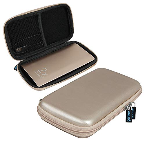 Anleo Hard EVA Travel Case fits DULLA M50000 Portable Power Bank 12000mAh External Battery Charger Color: Gold