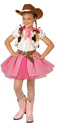 [Girls Cowgirl Cutie Kids Child Fancy Dress Party Halloween Costume, M (8-10)] (Girl Marvel Character Costumes)