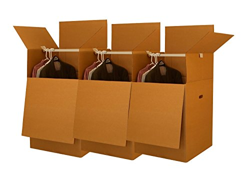 UBOXES Larger Wardrobe 24 x 24 x 40-Inches Moving Boxes, Bundle of 3 (BOXBUNDWAR03) (Coat Moving Box)