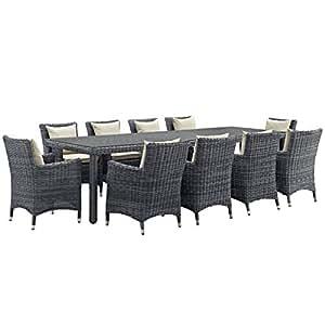 Moderno diseño urbano contemporáneo al aire libre Patio 11pcs juego de sillas de comedor y mesa, color beige, ratán