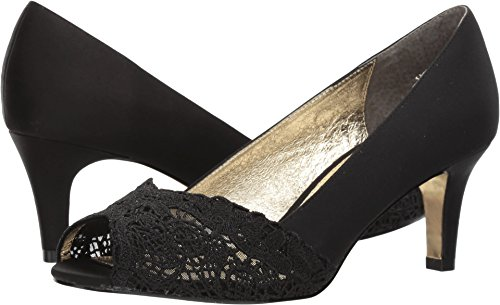 Adrianna Papell Women's Jude Pump, Black Satin, 8.5 Wide US