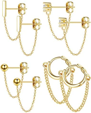 YADOCA 4 pairs Copper Chain Stud Earrings Set for Women CZ Dangle Earrings Ball Stud Earring Bar Stud Earrings Huggie Hoop Piercing Earrings Stainless Steel Ear Pins