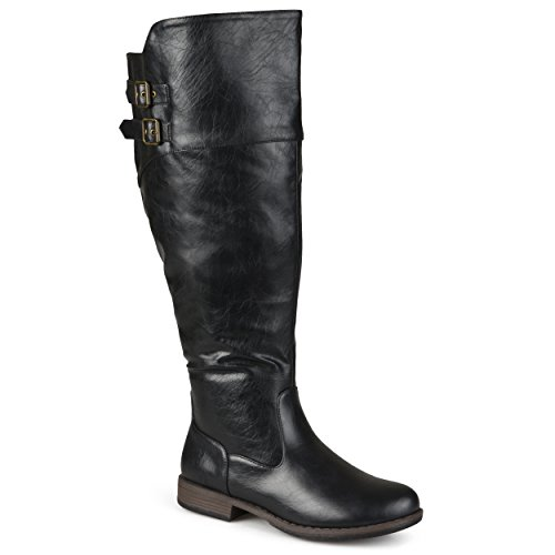 Journee Collection Womens Regular Sized and Wide-Calf Double-Buckle Knee-High Riding Boots Black, 9.5 Extra Wide Calf US